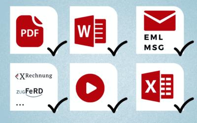 Dateitypen mit denen Ihr DMS können muss